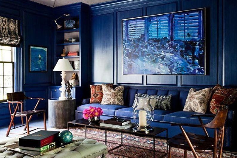 С какими цветами сочетается синий - Дизайн гостиной