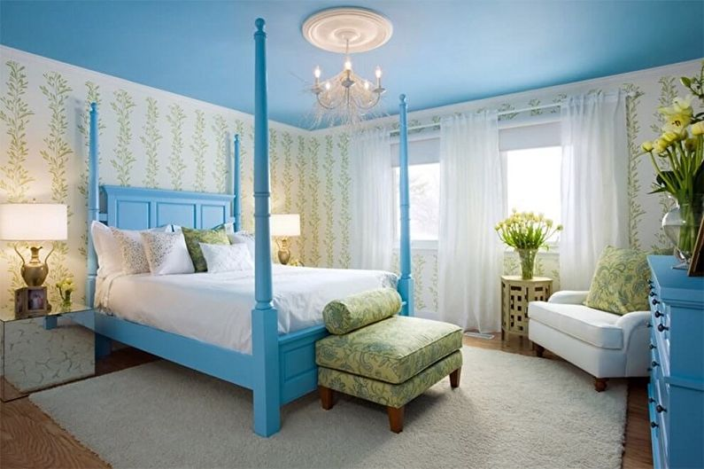 С какими цветами сочетается синий - Дизайн спальни