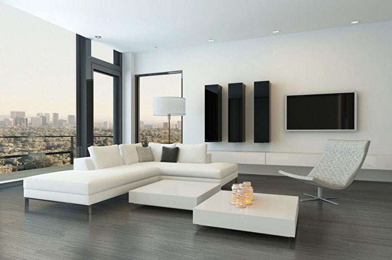 Дизайн зала в стиле минимализм