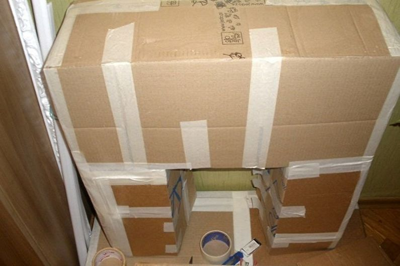 Изготовление каркаса фальшкамина своими руками - Из картонных ящиков