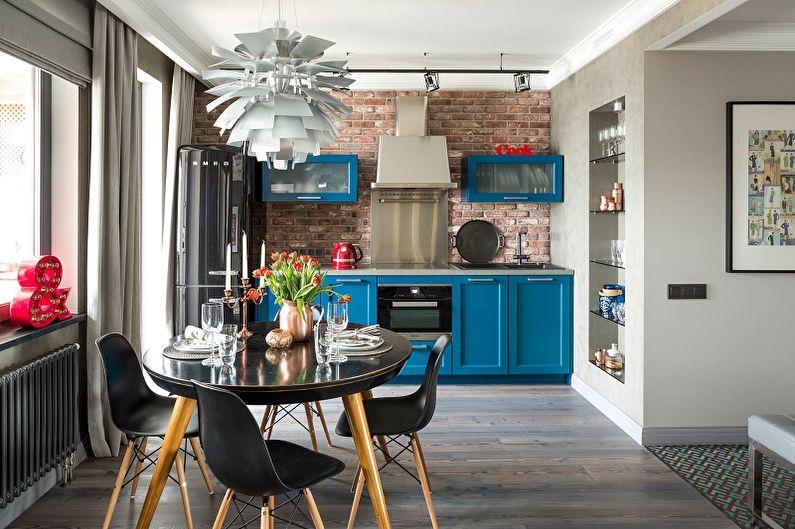 Кухня 13 кв.м. в стиле лофт - Дизайн интерьера