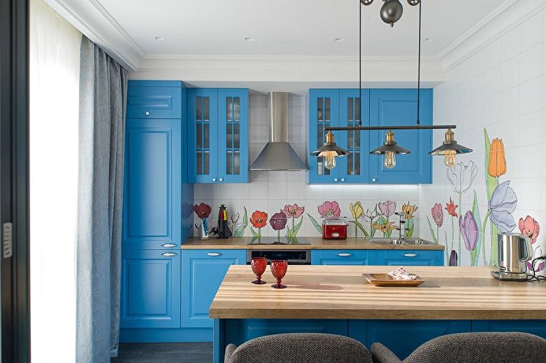 Синяя кухня 13 кв.м. - Дизайн интерьера