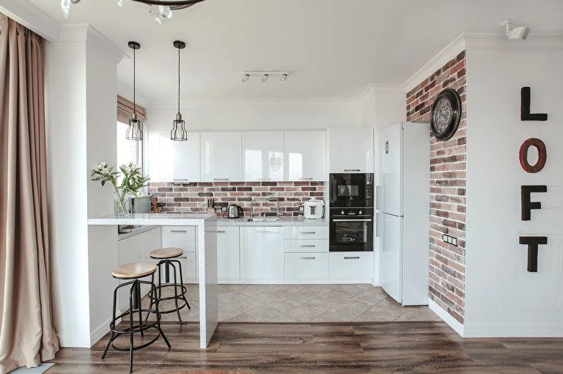 Белая кухня 11 кв.м. - Дизайн интерьера