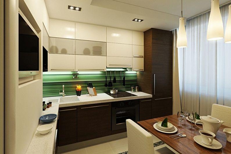 Коричневая кухня 11 кв.м. - Дизайн интерьера