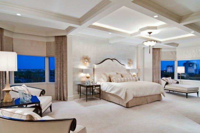 Многоуровневый потолок из гипсокартона в спальне
