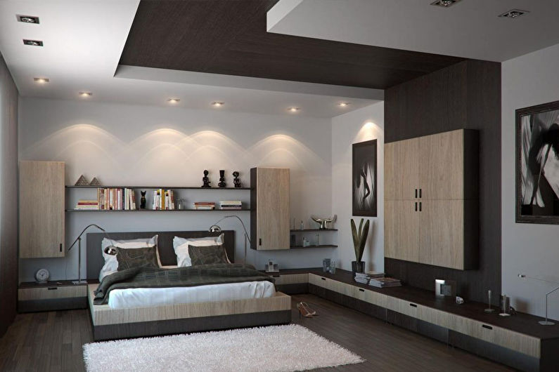 Освещение и подсветка потолка из гипсокартона в спальне