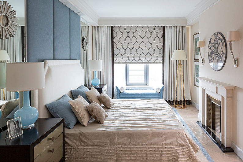 Потолок из гипсокартона в спальне - фото