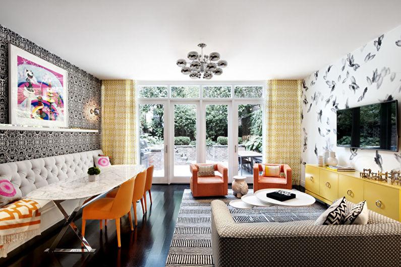 Сочетание цветов в интерьере гостиной - Теплые тона