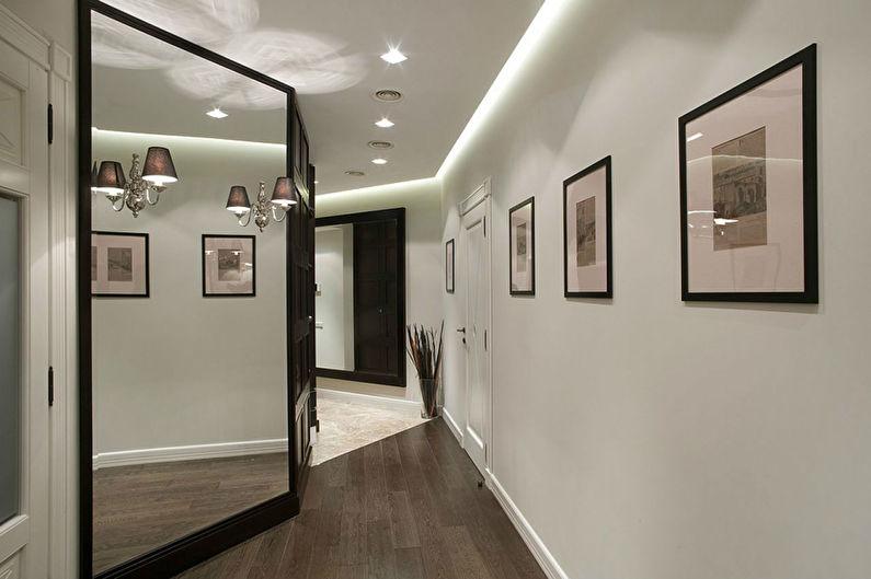 Потолок из гипсокартона в прихожей - фото