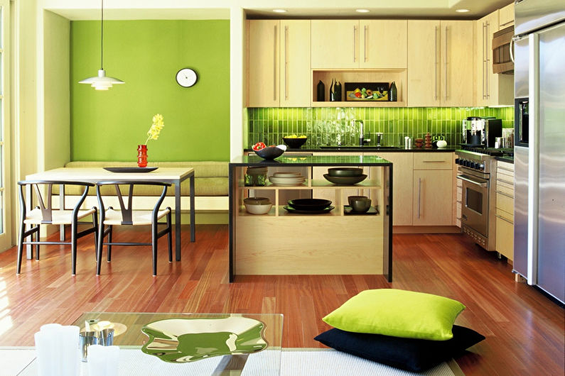 Дизайн кухни фисташковый цвет