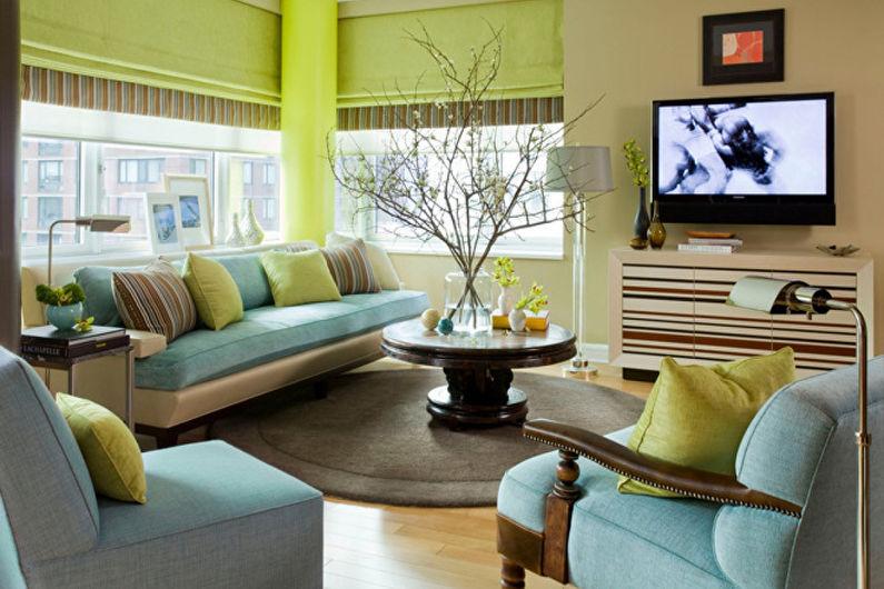 Гостиная в фисташковом цвете дизайн 60
