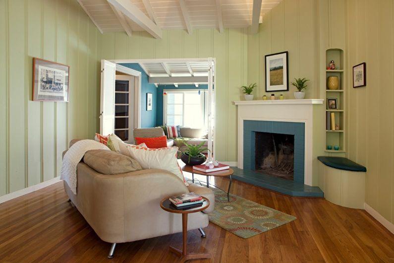 Фисташковый цвет в интерьере гостиной - Дизайн фото