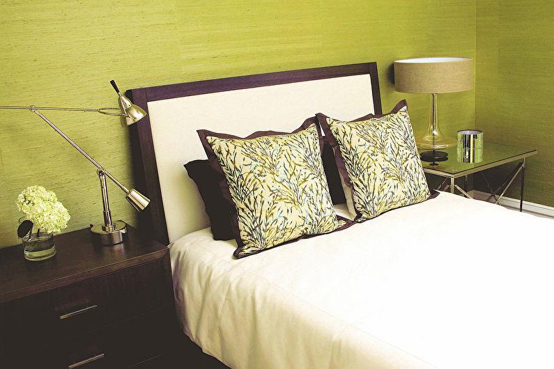 Фисташковый цвет в интерьере спальни - Дизайн фото
