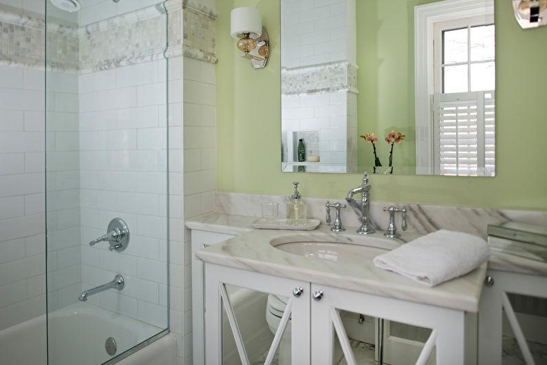 Фисташковый цвет в интерьере ванной комнаты - Дизайн фото