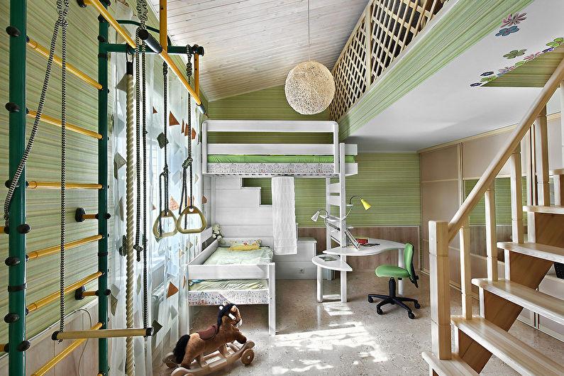 Фисташковый цвет в интерьере детской комнаты - Дизайн фото