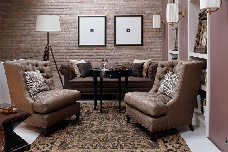 Обои под кирпич в интерьере гостиной - Дизайн фото