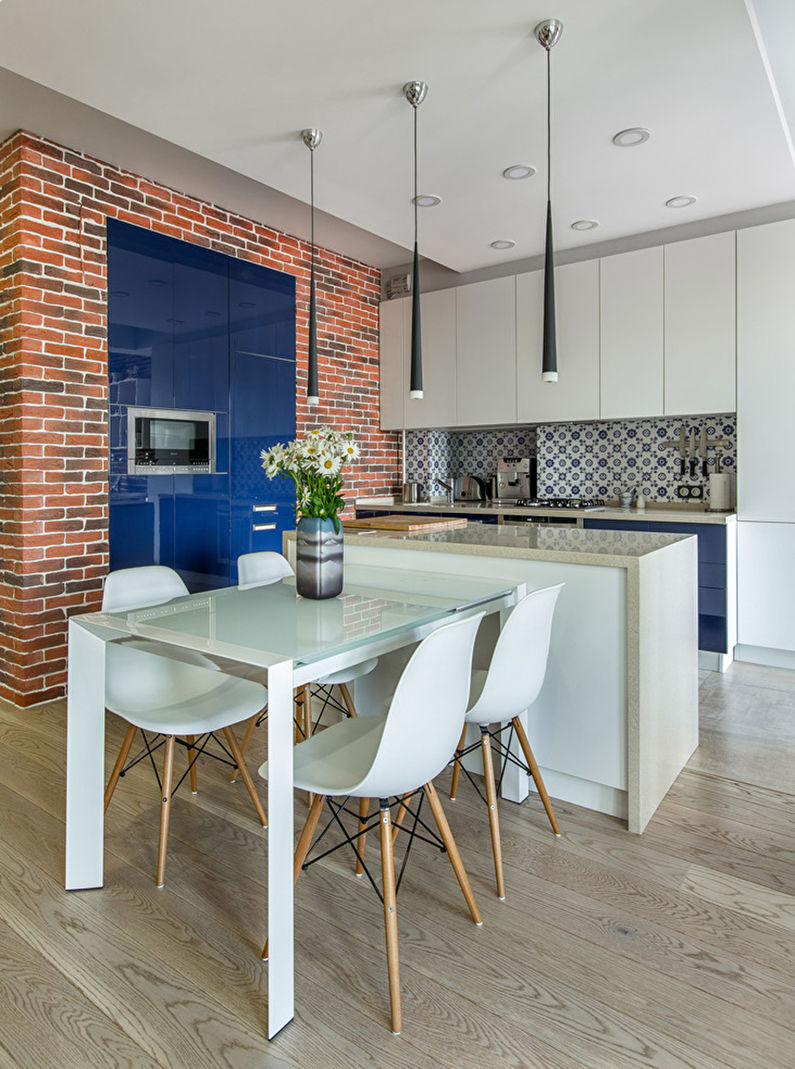 Обои под кирпич в интерьере кухни - Дизайн фото