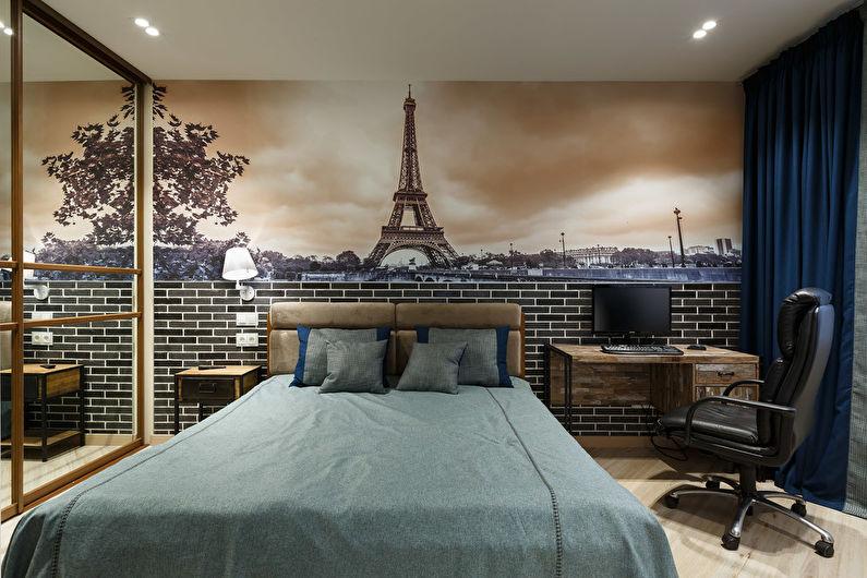 Обои под кирпич в интерьере спальни - Дизайн фото