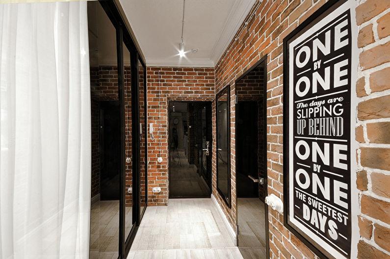 Обои под кирпичную кладку в интерьере прихожей - Дизайн фото