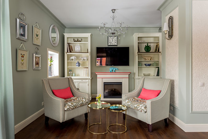 Дизайн интерьера гостиной в стиле неоклассика - фото