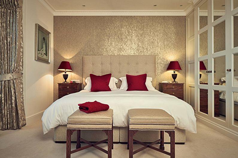 Красная спальня 10 кв.м.- Дизайн интерьера