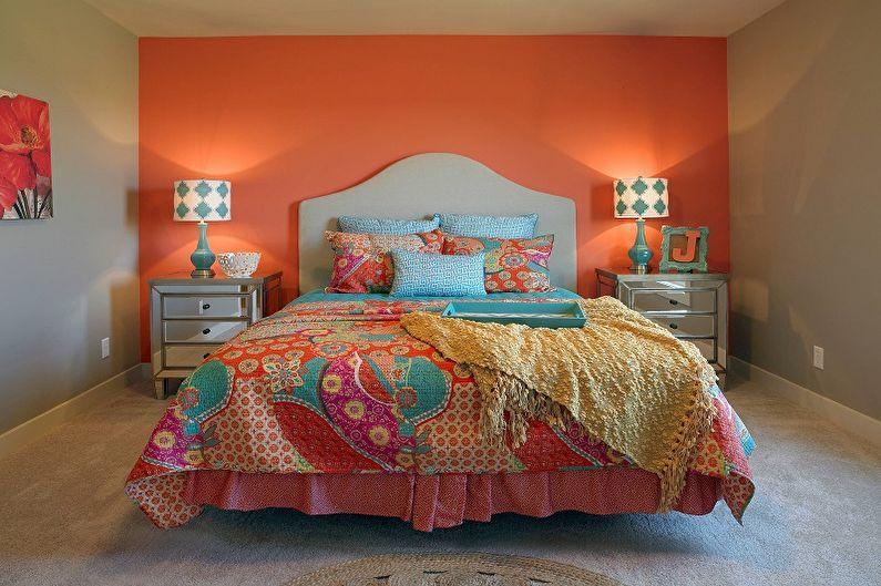 Оранжевая спальня 10 кв.м. - Дизайн интерьера