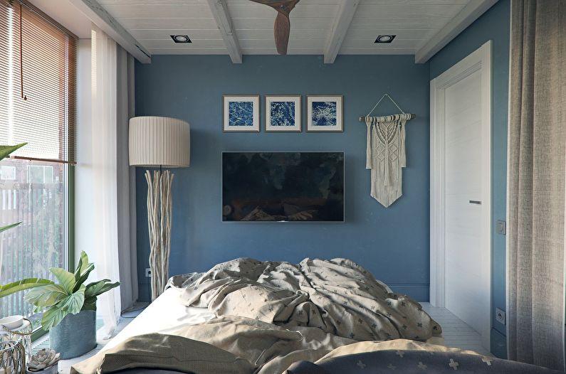 Синяя спальня 10 кв.м. - Дизайн интерьера