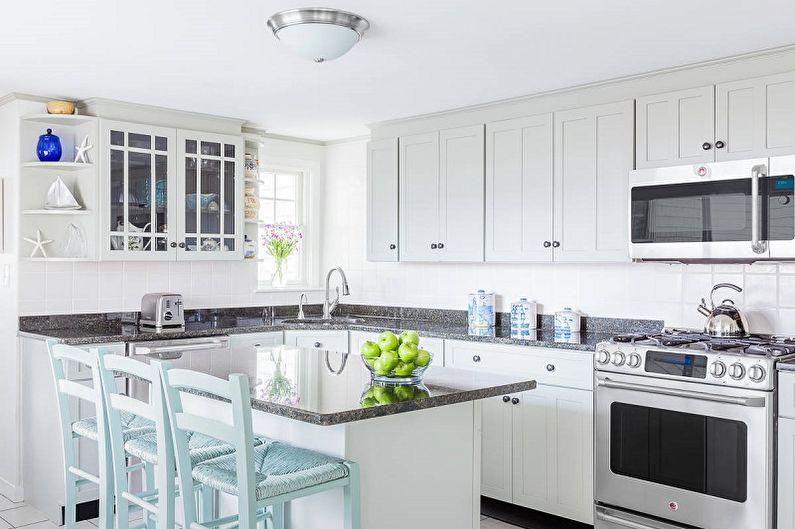 Кухня 10 кв.м. в морском стиле - Дизайн интерьера