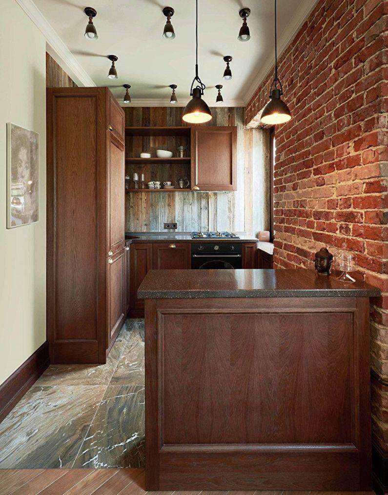 Коричневая кухня 10 кв.м. - Дизайн интерьера