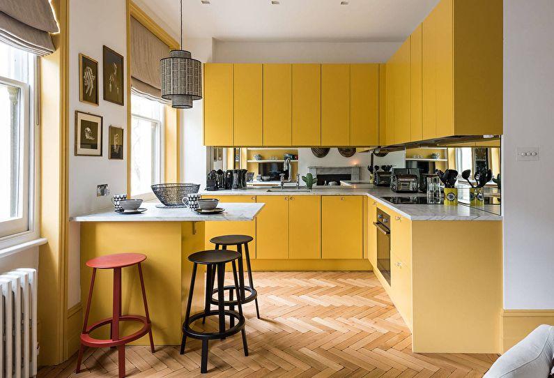 Желтая кухня 10 кв.м. - Дизайн интерьера