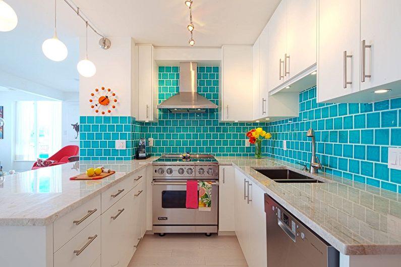 Бирюзовая кухня 10 кв.м. - Дизайн интерьера