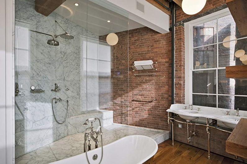 Терракотовая ванная в стиле лофт - Дизайн интерьера