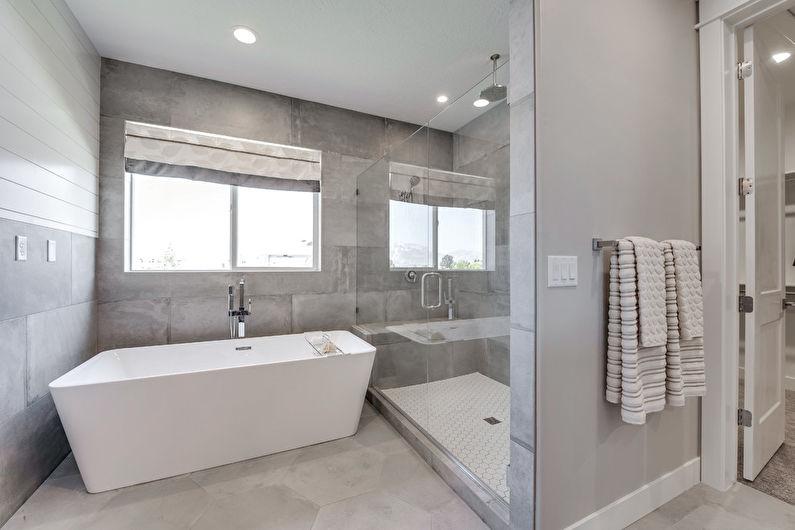 Серая ванная в стиле лофт - Дизайн интерьера