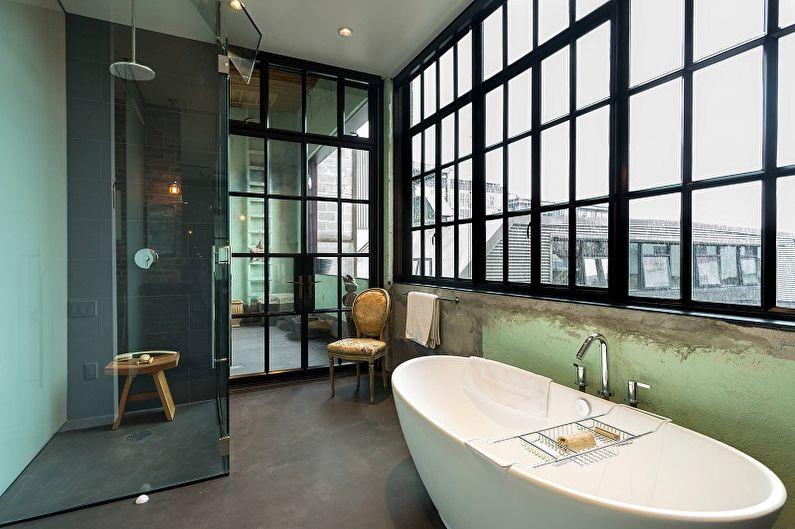 Дизайн ванной комнаты в стиле лофт - Отделка пола