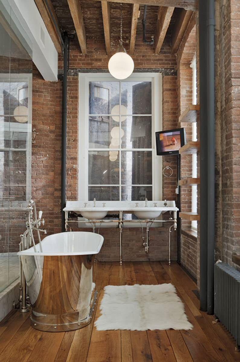 Дизайн ванной комнаты в стиле лофт - Отделка потолка