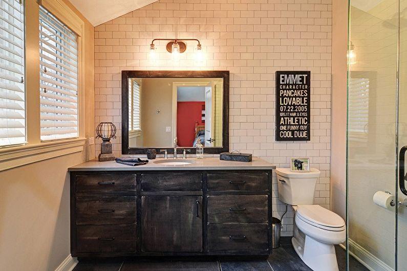 Дизайн ванной комнаты в стиле лофт - Мебель