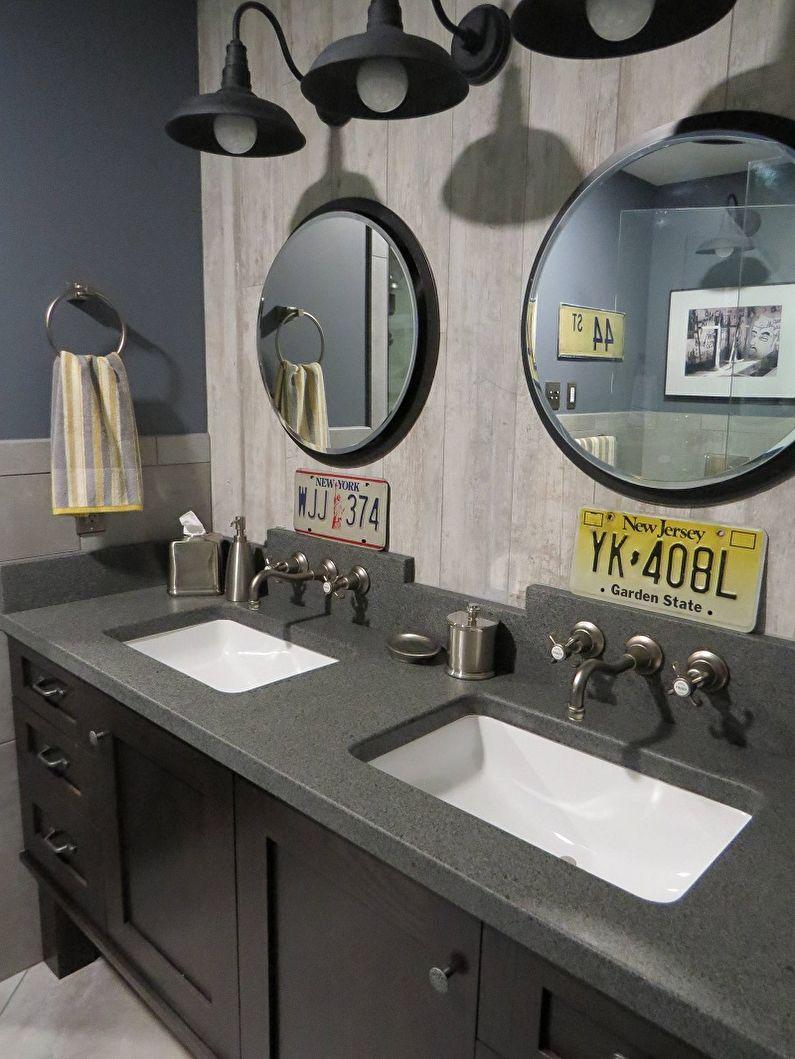 Дизайн ванной комнаты в стиле лофт - Декор и освещение
