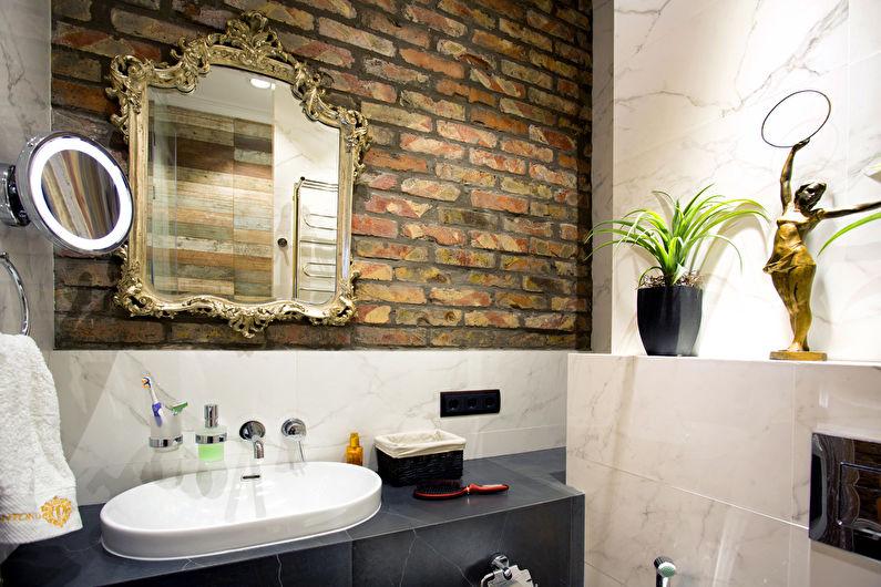 Дизайн интерьера ванной комнаты в стиле лофт - фото
