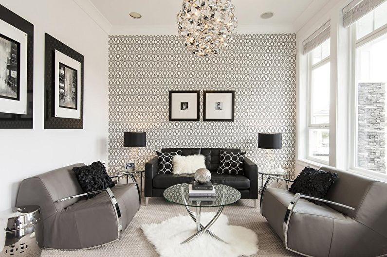 Черно-белые обои в интерьере гостиной - Дизайн фото