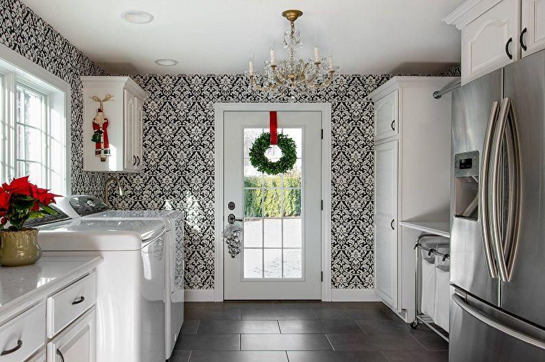 Черно-белые обои в интерьере кухни - Дизайн фото