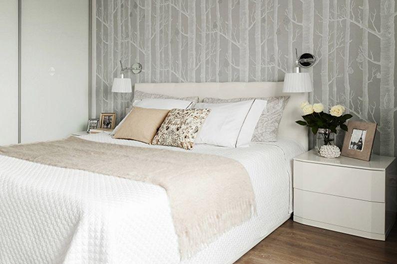Черно-белые обои в интерьере спальни - Дизайн фото