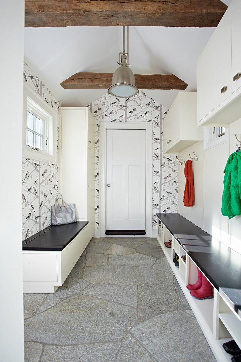 Черно-белые обои в интерьере прихожей - Дизайн фото