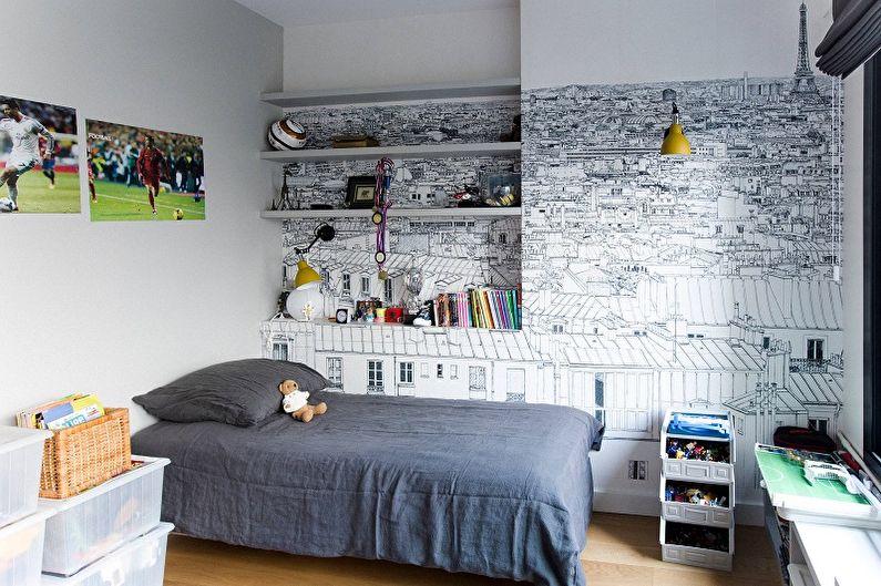 Черно-белые обои в интерьере детской комнаты - Дизайн фото