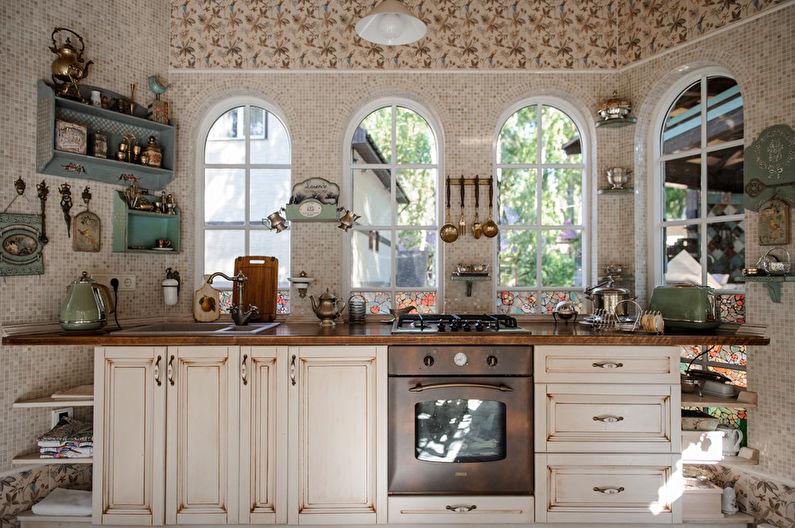 Дизайн интерьера кухни в стиле шебби-шик - фото