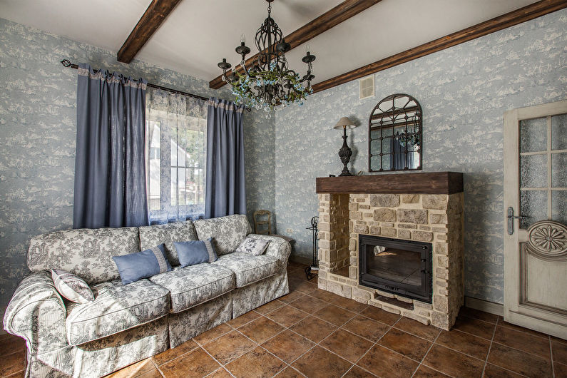 Дизайн интерьера гостиной в стиле шебби-шик - фото