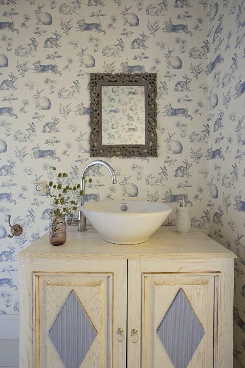 Дизайн интерьера ванной комнаты в стиле шебби-шик - фото