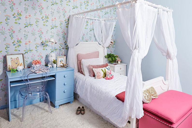 Дизайн интерьера детской комнаты в стиле шебби-шик - фото