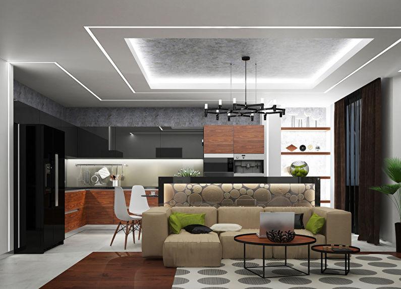 потолок в гостиной совмещенной с кухней фото основе