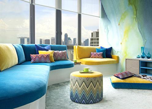 Сочетание цветов в интерьере гостиной: 80 идей