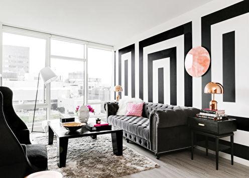 Черно-белые обои в интерьере: 80 фото-идей